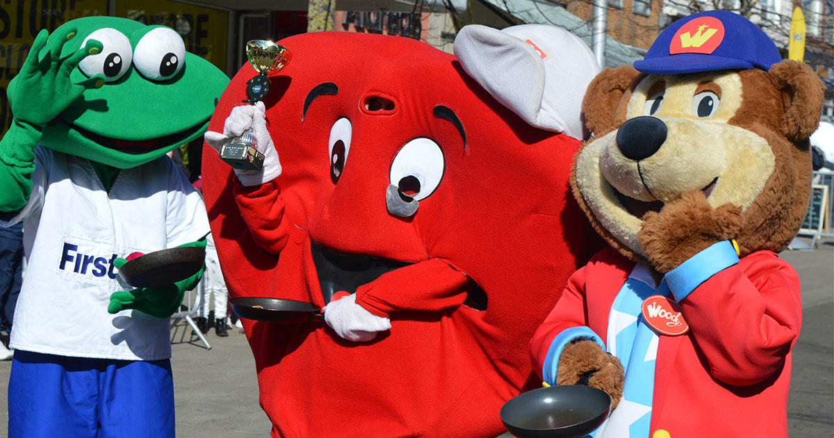 British Heart Foundation mascot wins the 2019 Lowestoft Vision Pancake Day races