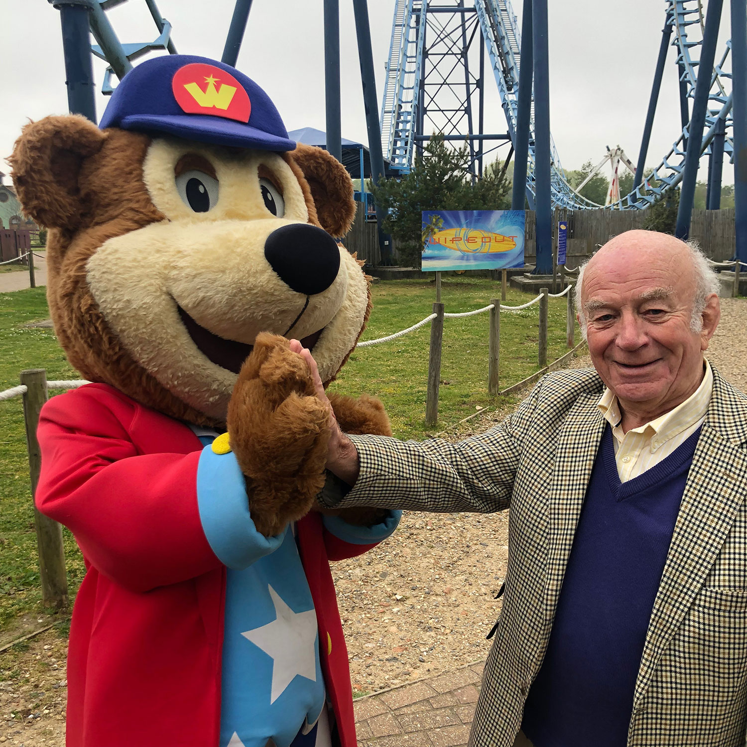 Woody bear and Joe Larter at Pleasurewood Hills